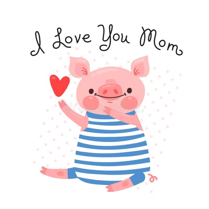妈妈的贺卡用逗人喜爱的小猪 爱的甜猪声明 也corel凹道例证向量 向量例证