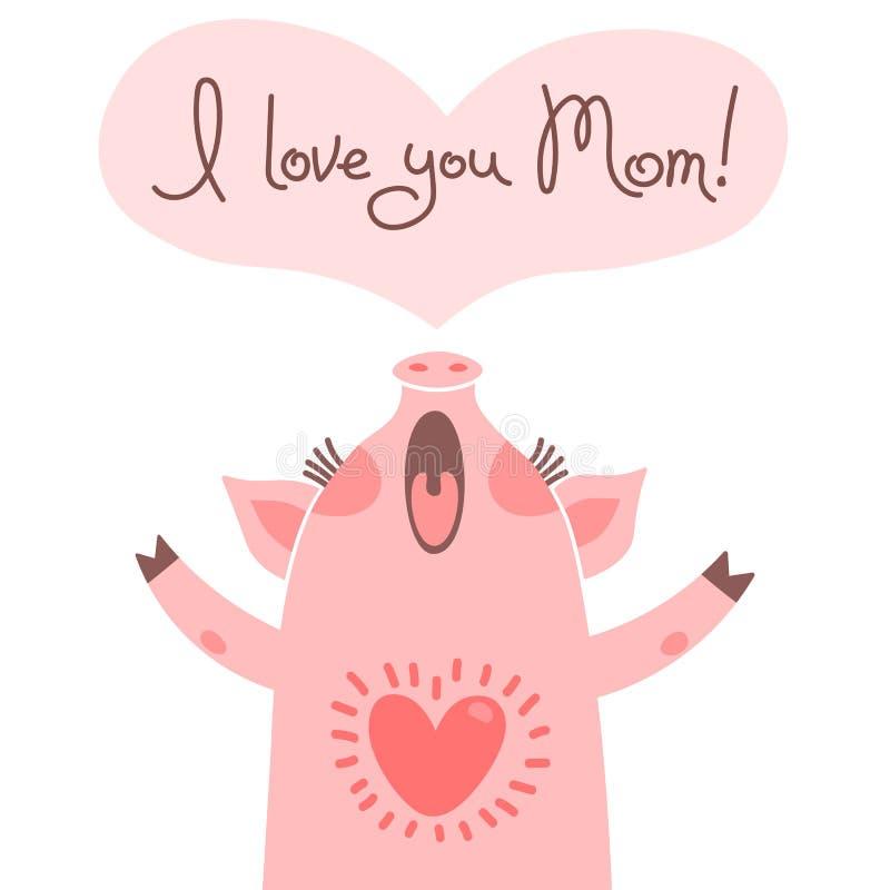 妈妈的贺卡用逗人喜爱的小猪 爱的甜猪声明 皇族释放例证