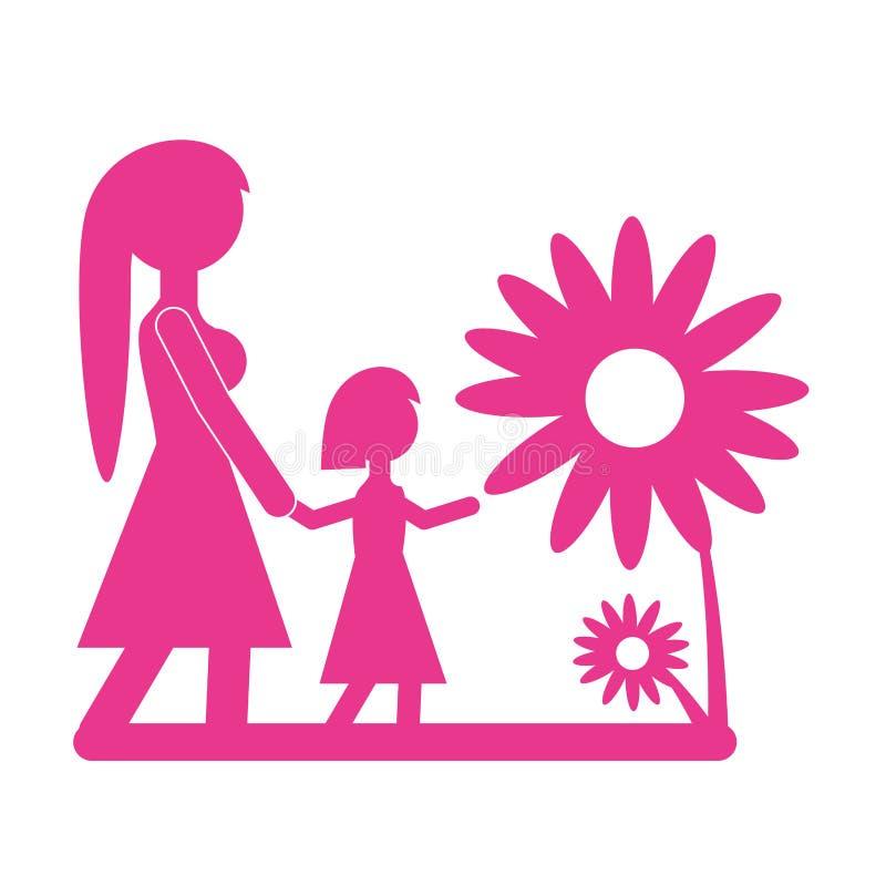 妈妈走的女儿美丽的花 皇族释放例证