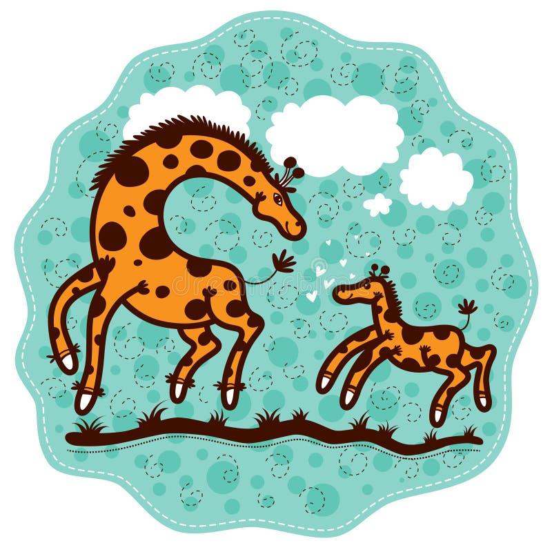 妈妈长颈鹿和她的小牛 库存例证