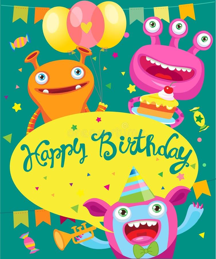 妖怪党邀请卡片设计 男孩动画片不满意的例证少许向量 滑稽的生日贺卡 皇族释放例证