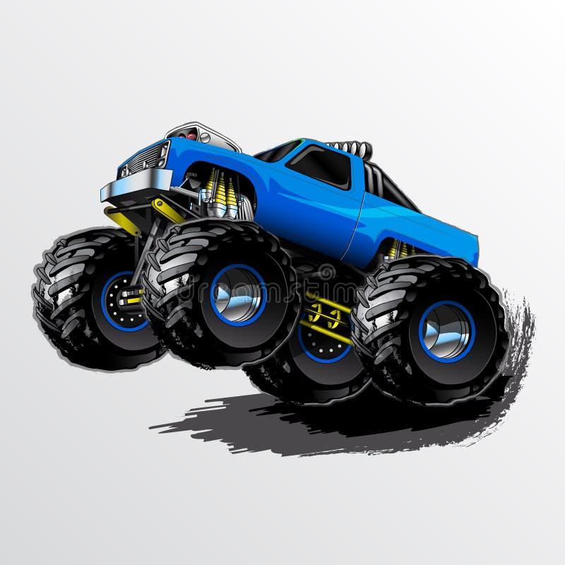 妖怪卡车自行车前轮离地平衡特技蓝色 向量例证