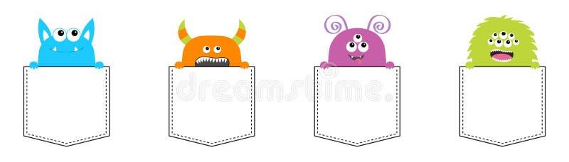 妖怪口袋集合 现有量暂挂 五颜六色的剪影 逗人喜爱的动画片可怕滑稽的字符 愉快的万圣节 婴孩汇集 T嘘 向量例证