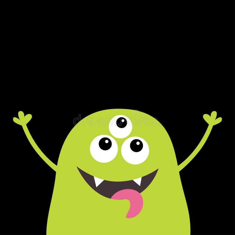 妖怪可怕叫喊的面孔头象 眼睛,犬齿牙,舌头,手 逗人喜爱的动画片嘘鬼的字符 绿色剪影 K 皇族释放例证