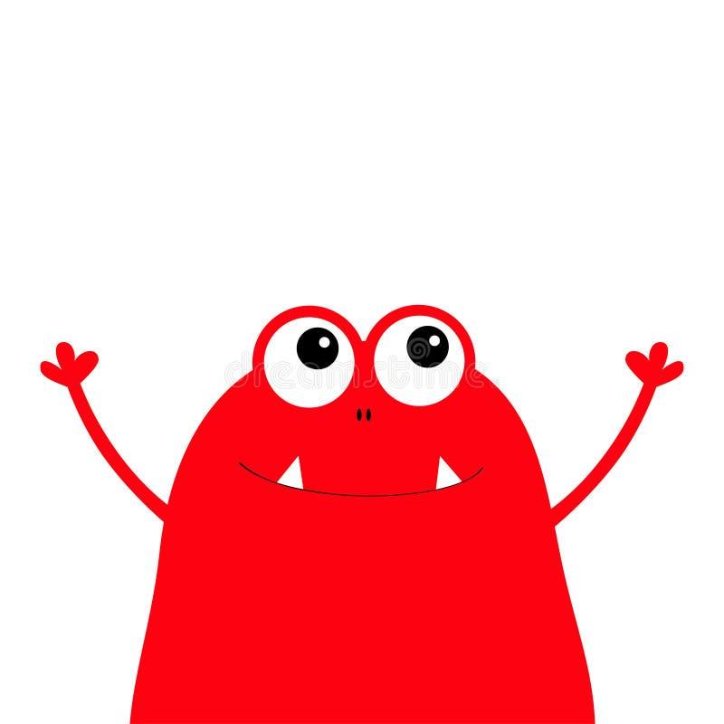 妖怪可怕面孔头象 眼睛,耳朵,犬齿牙 举起手来 逗人喜爱的动画片嘘鬼的字符 红色剪影 Kawaii滑稽的ba 库存例证