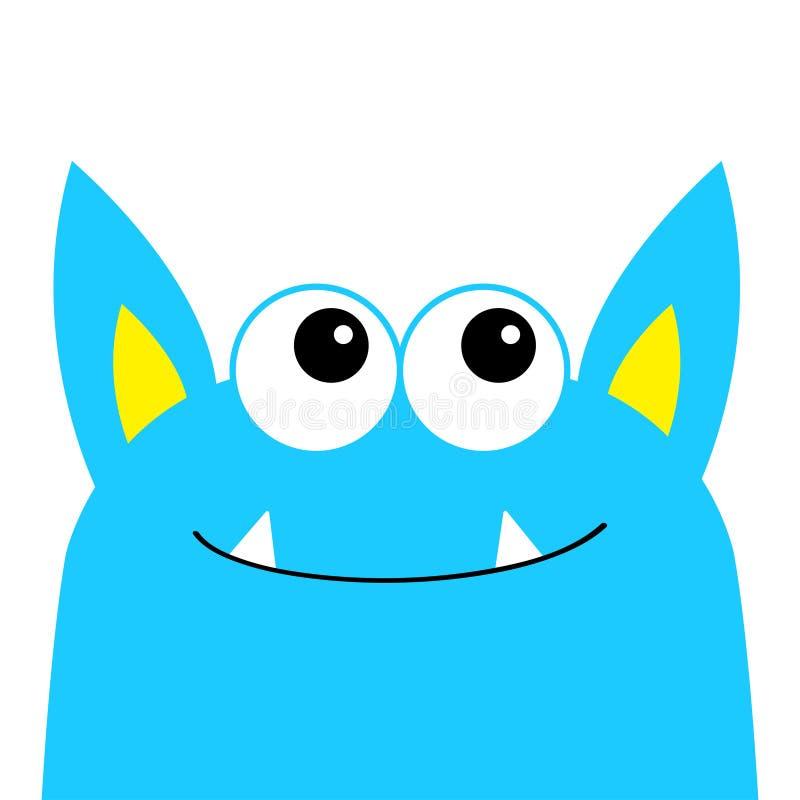 妖怪可怕面孔头象 眼睛,耳朵,犬齿牙 逗人喜爱的动画片嘘鬼的字符 蓝色剪影 Kawaii滑稽的婴孩 愉快 库存例证
