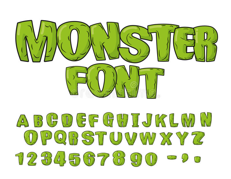 妖怪字体 绿色可怕信件 scrapbooking向量的字母表要素 活Abc 向量例证
