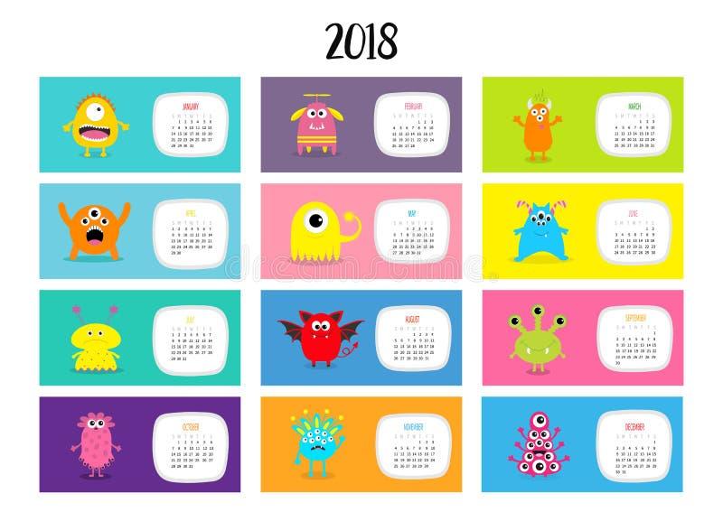 妖怪水平的月度日历2018年 逗人喜爱的滑稽的动画片字符集 所有月 平的设计 皇族释放例证