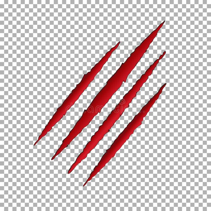 妖怪泪花爪划痕 Llion在透明背景隔绝的断裂纸 红色抓scra 向量例证