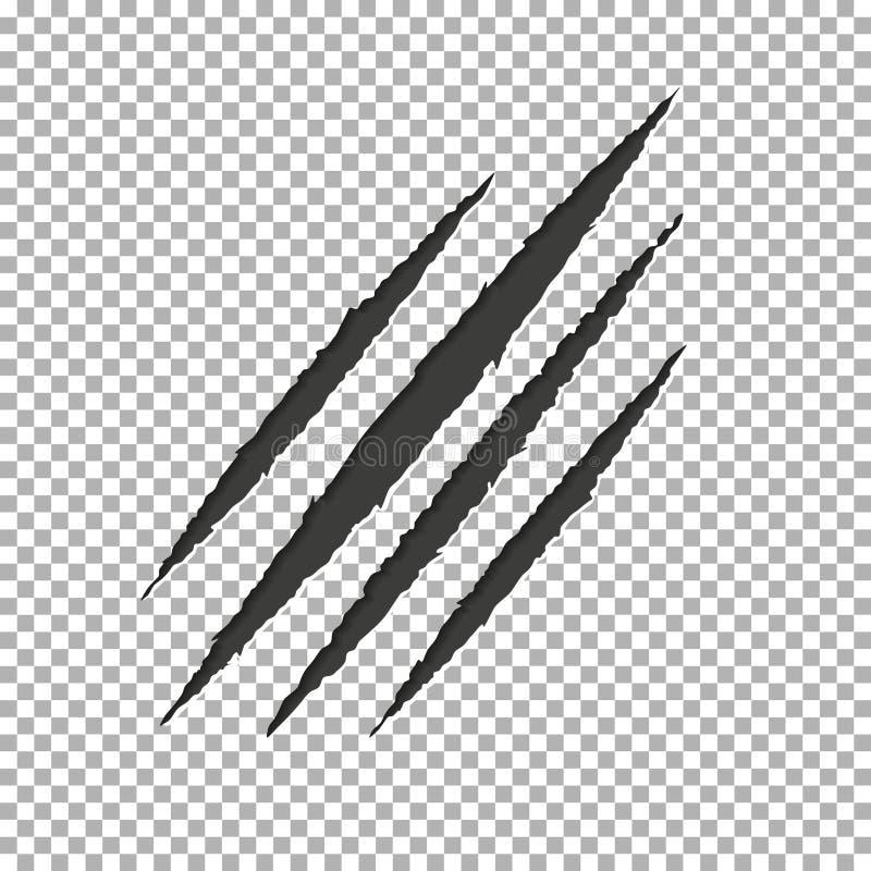 妖怪泪花爪划痕 Llion在透明背景隔绝的断裂纸 黑色抓sc 向量例证