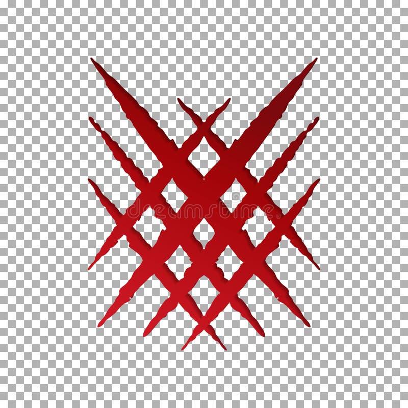 妖怪泪花爪抓痕,发怒标记 Llion在透明背景隔绝的断裂纸 红色Cla 皇族释放例证