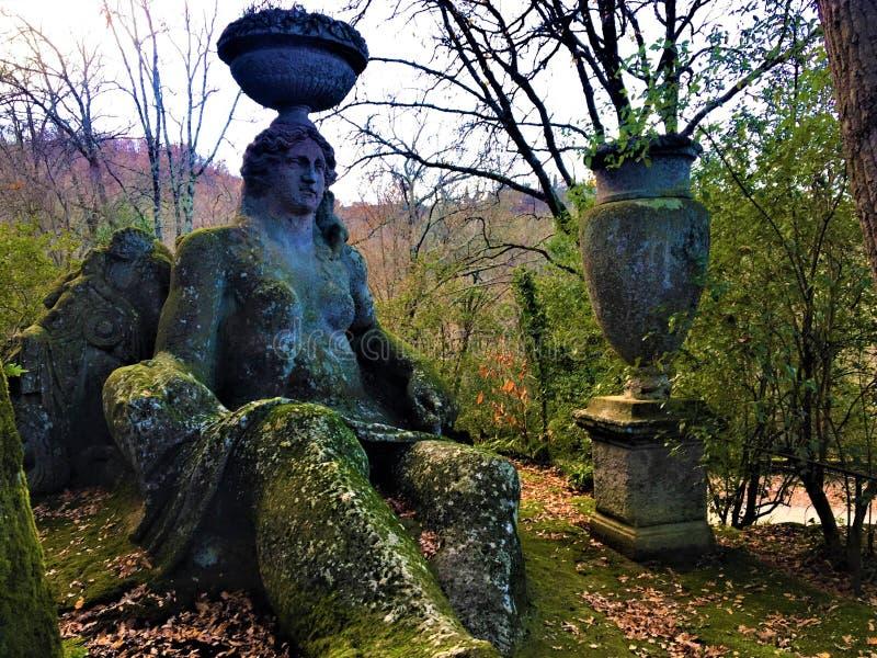 妖怪的公园,神圣的树丛,博马尔佐庭院  蜡膜,农业的女神,粮食作物和生育力 库存图片