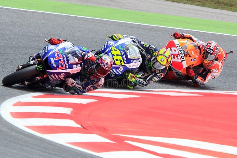 妖怪能量Catalunya MotoGP格兰披治  司机劳伦斯, Rosi, Marquez MotoGP 免版税库存照片