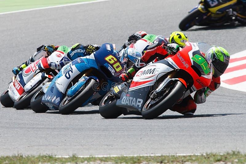 妖怪能量Catalunya MotoGP格兰披治  司机安东尼西部和朱利安西蒙 Moto2 图库摄影