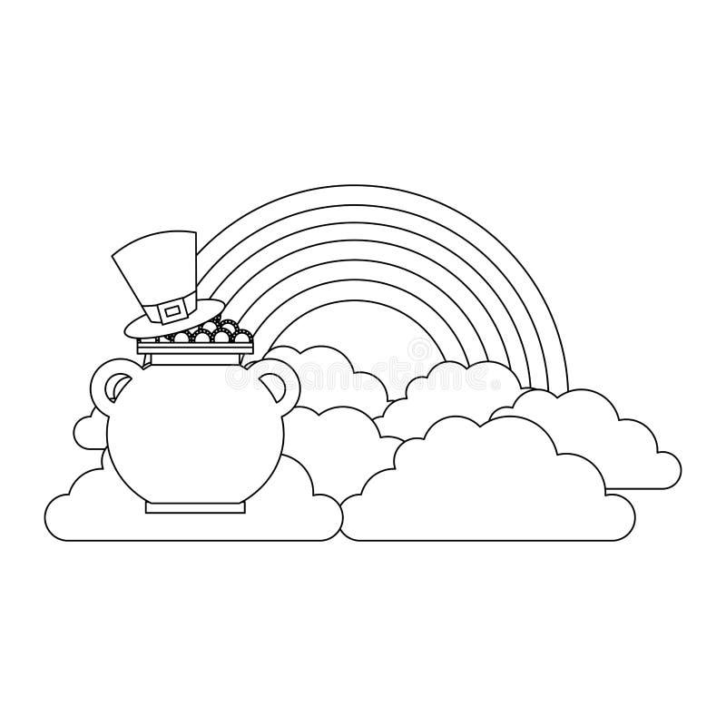 妖精帽子与罐的铸造珍宝彩虹云彩幻想 皇族释放例证