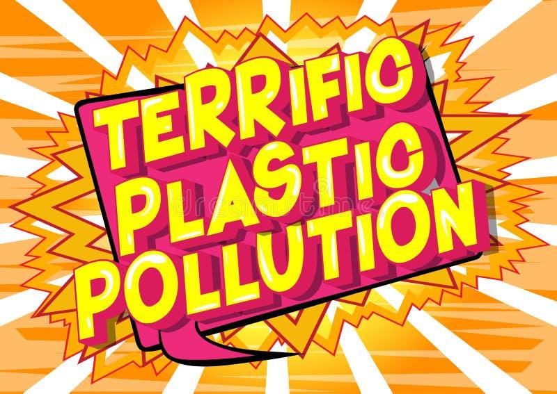 妙极塑料污染-漫画样式词 库存例证