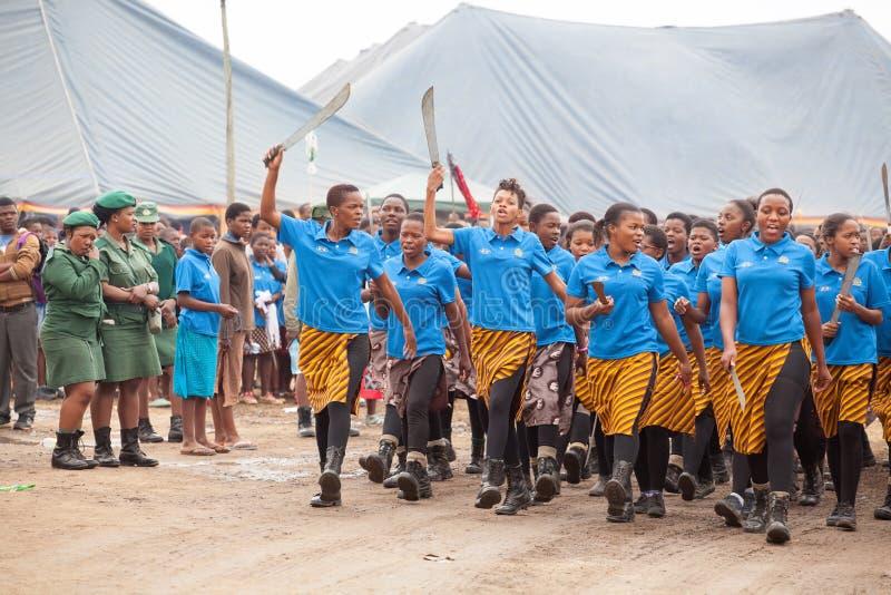 姆巴巴纳,斯威士兰,芦苇节里德舞蹈仪式,每年传统全国礼拜式,一八天庆祝 免版税库存图片