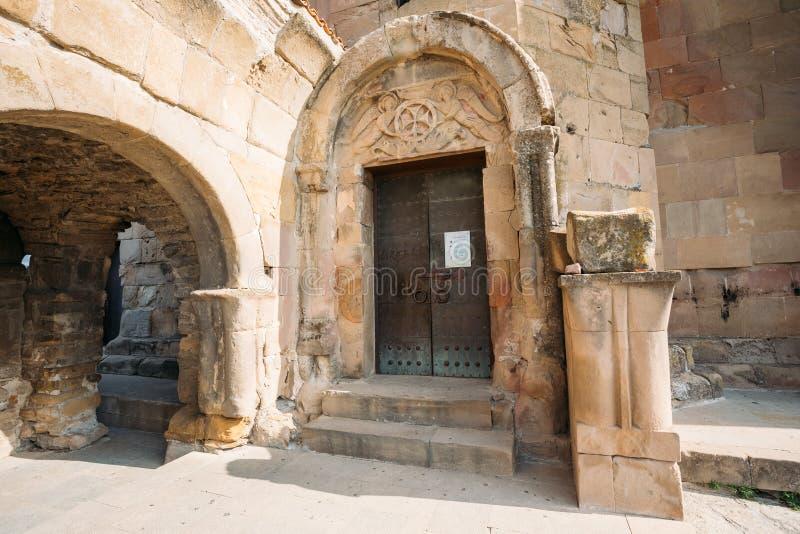姆茨赫塔,乔治亚 对古老Jvari修道院的入口,英王乔治一世至三世时期 库存图片