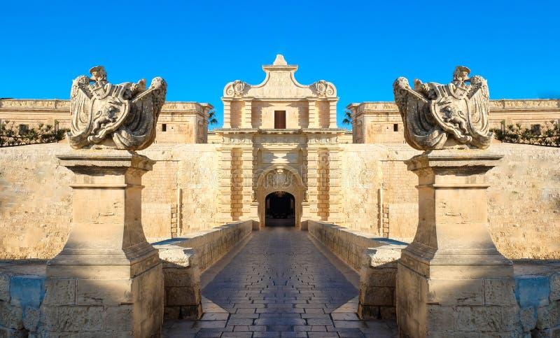 姆迪纳市门 老堡垒 马耳他 免版税库存图片