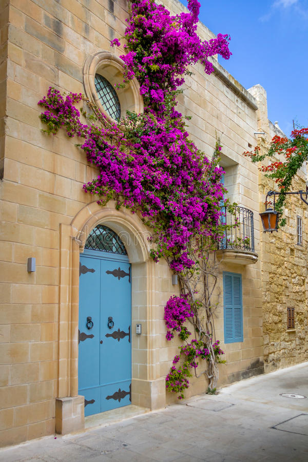 姆迪纳-姆迪纳,马耳他老狭窄的街道  免版税图库摄影
