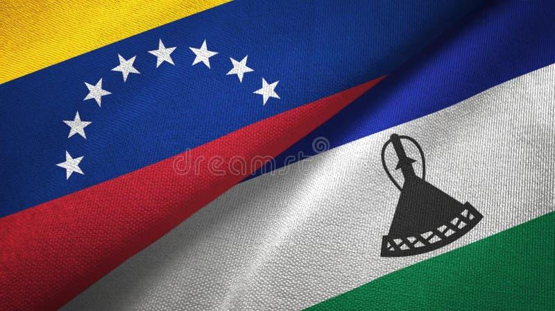 委内瑞拉和莱索托两旗子纺织品布料,织品纹理 库存例证