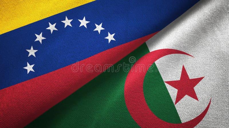 委内瑞拉和阿尔及利亚两旗子纺织品布料,织品纹理 向量例证
