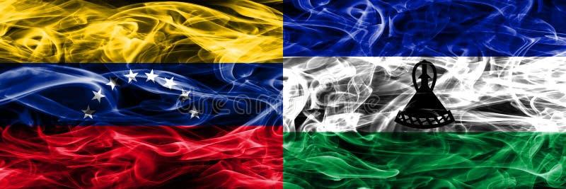 委内瑞拉对肩并肩被安置的莱索托五颜六色的概念烟旗子 皇族释放例证