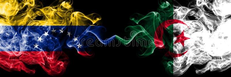 委内瑞拉对阿尔及利亚,肩并肩被安置的阿尔及利亚的发烟性神秘的旗子 委内瑞拉和阿尔及利亚的厚实的色的柔滑的烟旗子, 向量例证