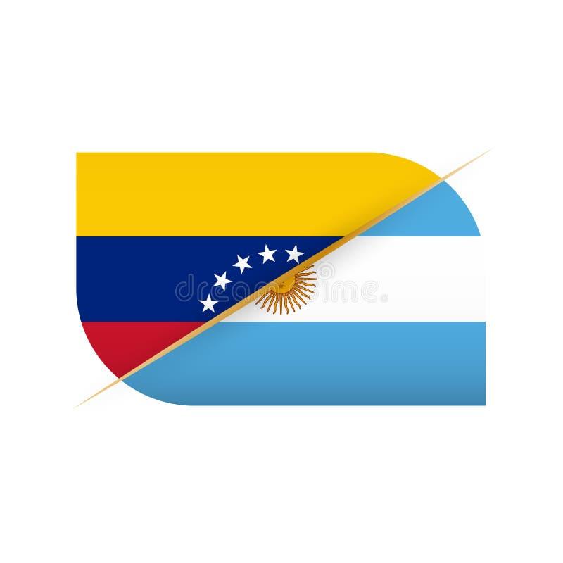 委内瑞拉对阿根廷,体育竞赛的两面传染媒介旗子象 向量例证