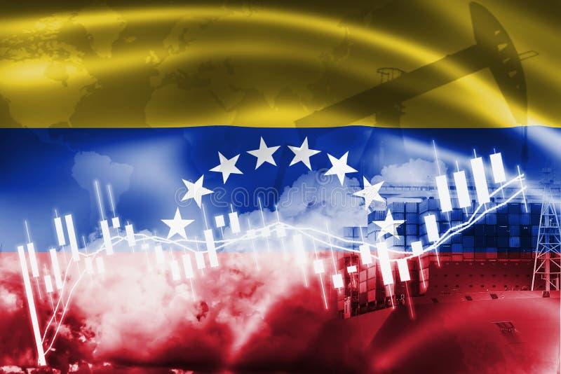 委内瑞拉旗子、股票市场、交换经济和贸易,石油生产,在出口和进口业的集装箱船和 库存图片