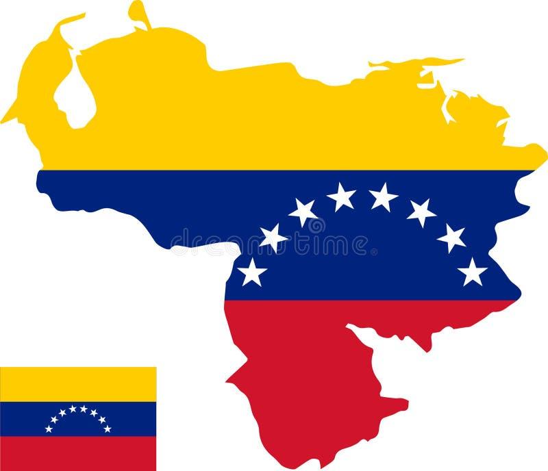 委内瑞拉的传染媒介地图有旗子的 被隔绝的,白色背景 免版税库存照片