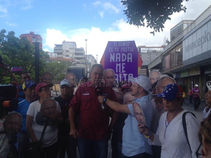 委内瑞拉议员理查布兰科抗议在委内瑞拉 库存图片