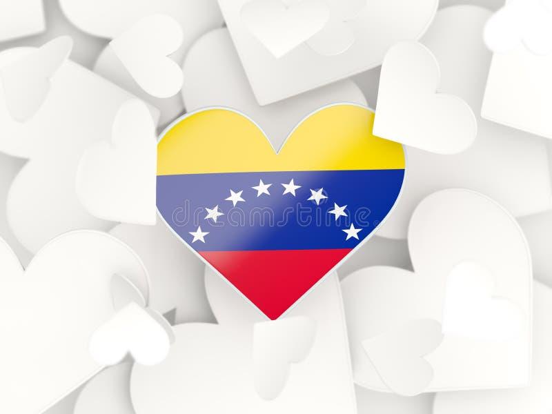 委内瑞拉,心形的贴纸的旗子 向量例证