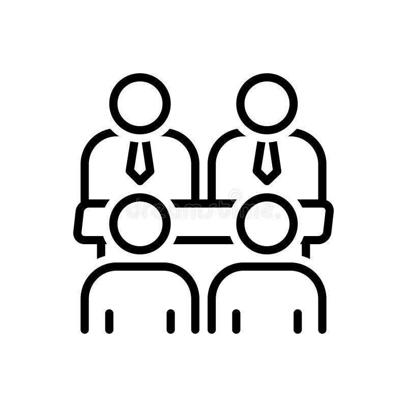 委员会会议、人和通信的黑线象 库存例证