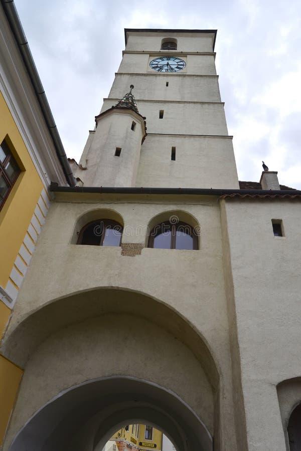 委员会塔在锡比乌罗马尼亚 免版税库存照片