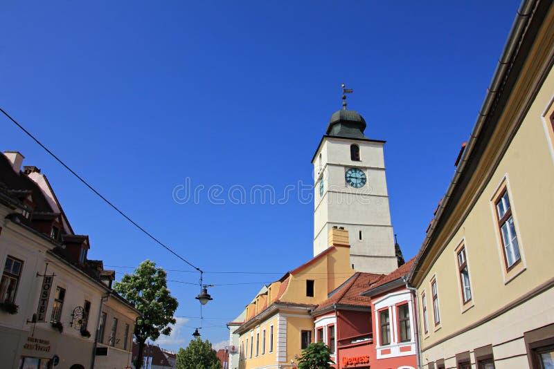 委员会塔在锡比乌,罗马尼亚 库存照片
