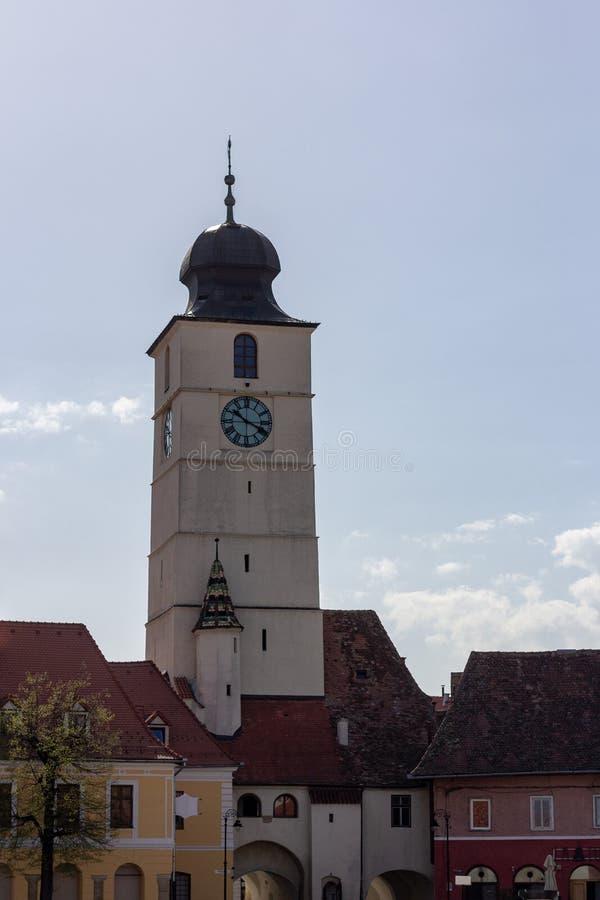 委员会塔在锡比乌,罗马尼亚 图库摄影