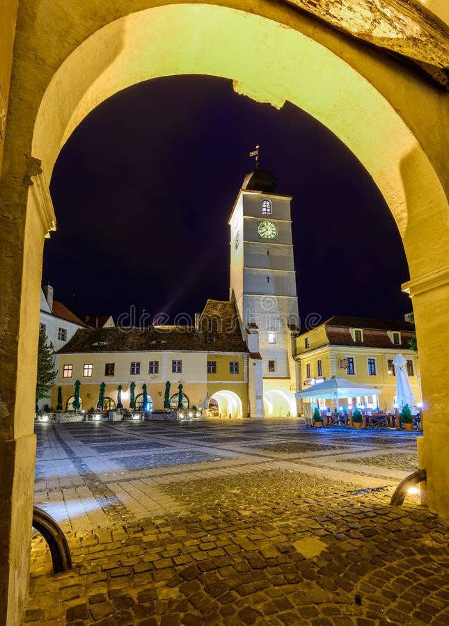 委员会塔在锡比乌,罗马尼亚 免版税库存照片