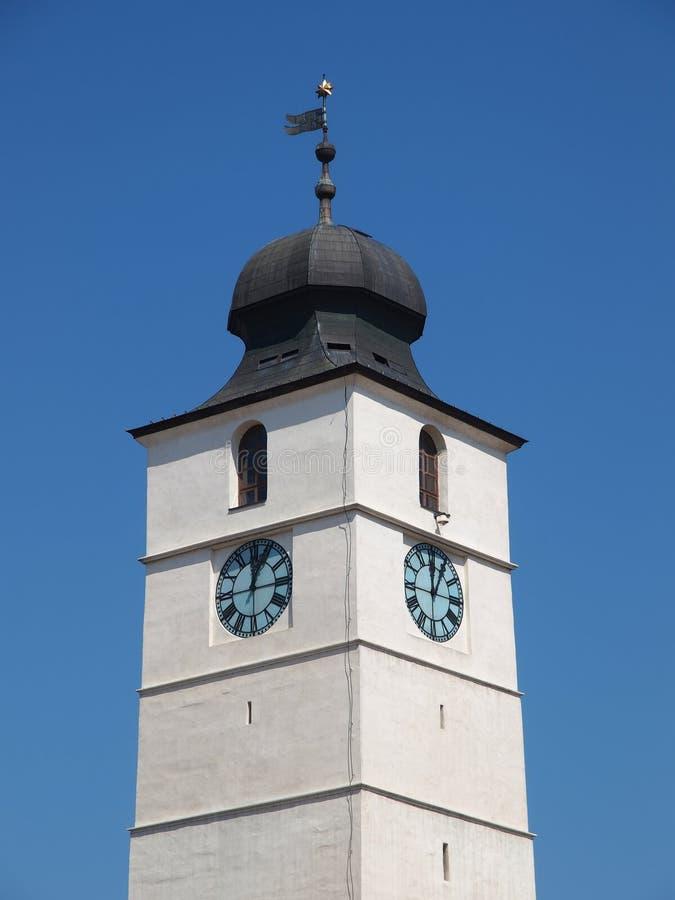 委员会塔& x28; Turnul Sfatului& x29;在锡比乌市,罗马尼亚 免版税库存照片