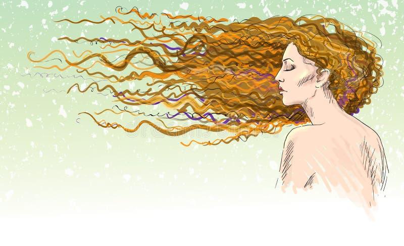 姜。红发女孩。风吹的头发。 皇族释放例证