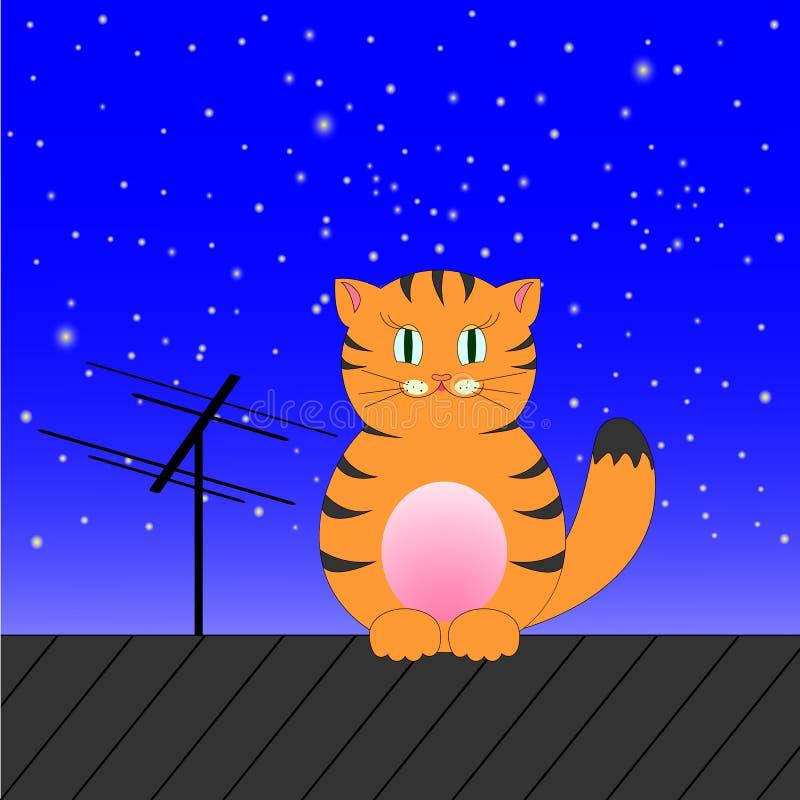 姜虎斑猫坐在天空的背景的一个屋顶 库存照片