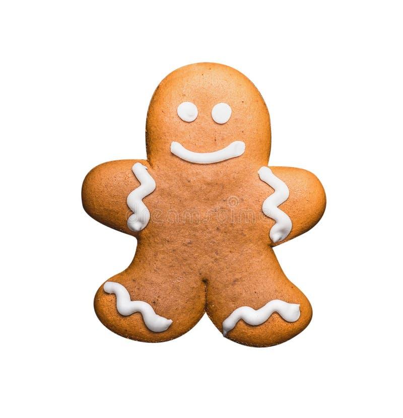 姜饼人,隔绝在白色 免版税库存图片