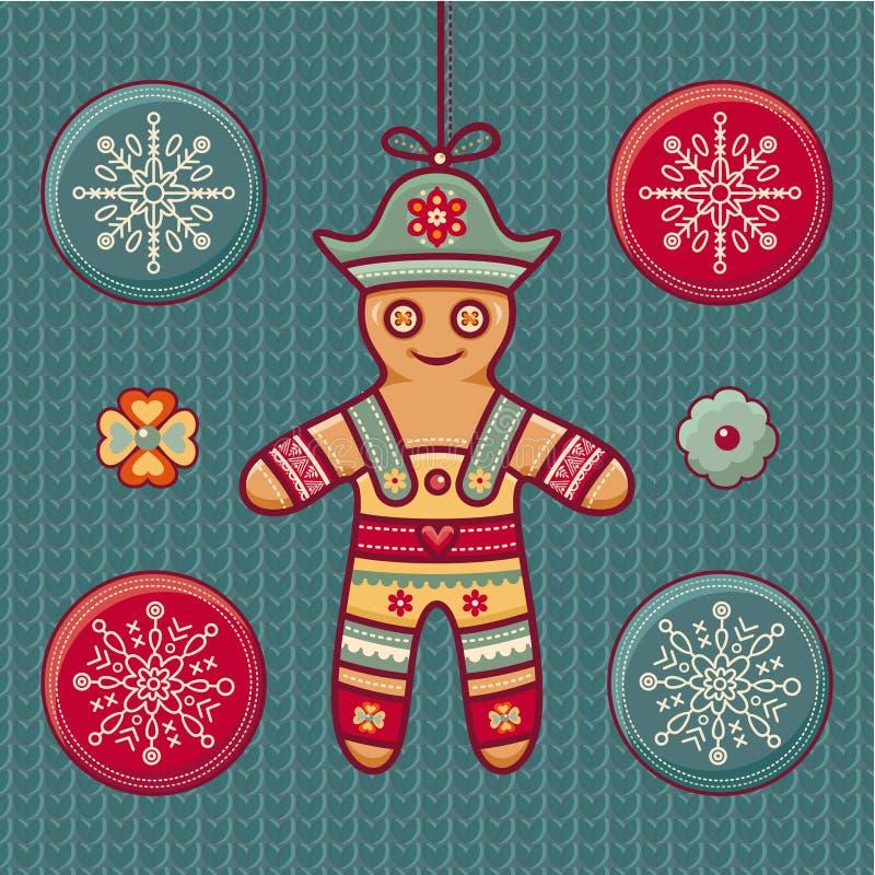 姜饼人 套颜色圣诞节玩具 皇族释放例证