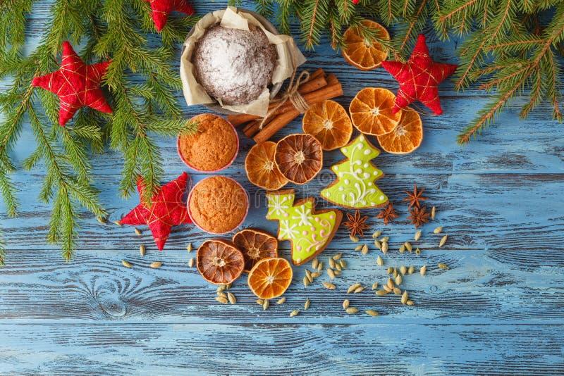 姜饼和八角用肉桂条和圣诞节de 免版税图库摄影