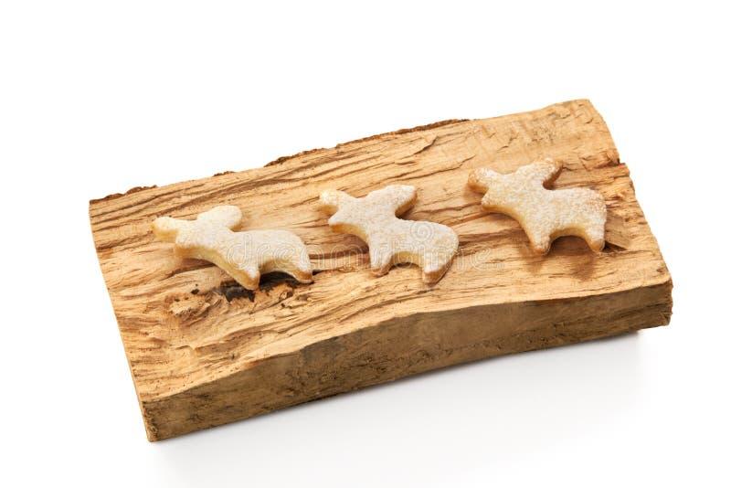 姜饼圣诞节驯鹿曲奇饼 免版税库存图片