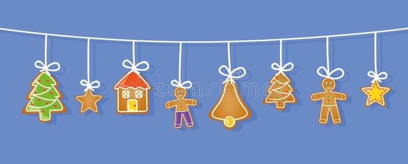 姜饼垂悬的集合星房子人圣诞树响铃 皇族释放例证