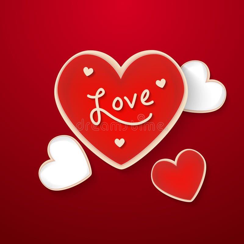 姜饼心脏 在心脏形状的假日曲奇饼 例证为情人节,婚礼,烹调,浪漫 向量例证
