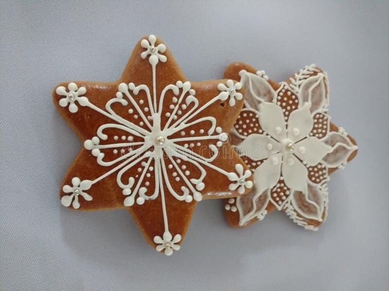 姜饼手工制造圣诞节的饼干,独特 库存照片