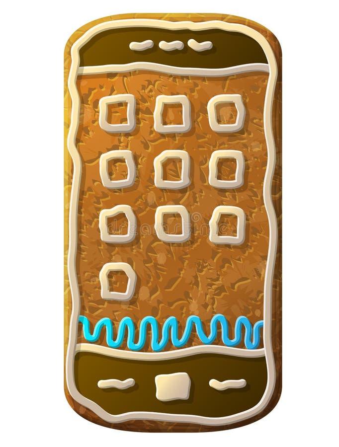 姜饼智能手机装饰的色的结冰 库存例证