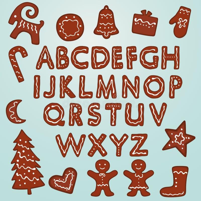 姜饼曲奇饼字母表和图 皇族释放例证